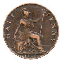 KM# 793 - Half Penny - Freeman 385 (1+B) - Edward VII - Great Britain 1906 (VF)