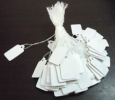 100 White Pre-Strung Price Labels - Jewellery Price Tags  23mm x 13mm  UK Seller