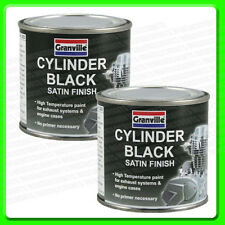 * Pack of 2 * 250ml Cylinder Black Satin High Temperature Paint [0060] Brush on