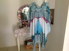 STUNNING AQUA WHITE ANIMAL PRINT KAFTAN CAFTAN RESORT CASUAL LOOSE TOP
