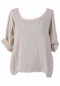 Ladies Italian Plain Crop Top Blouse Lagenlook Top Plus Sizes UK 10-18