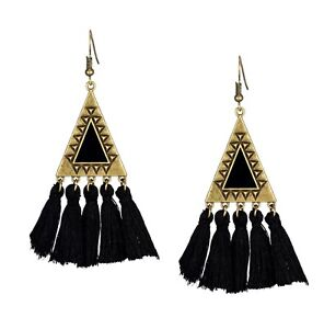 Bohemian Long Tassel Fringe Dangle Drop colorful statement Earrings - AU Seller