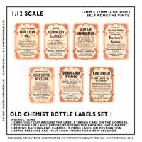 7 Dolls House Miniature Apothecary Labels Set 2