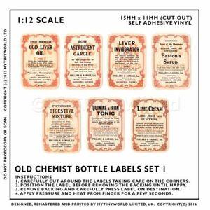 7 Miniatura per Casa Delle Bambole Farmacista Etichette Set 2