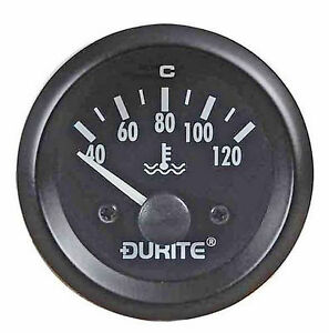Water Temp Gauge Durite 12v  52mm Illuminated Dial      WTD120A