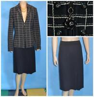 St John Collection Black Cream Jacket Skirt L 12 14 2pc Suit Plaid Buttons