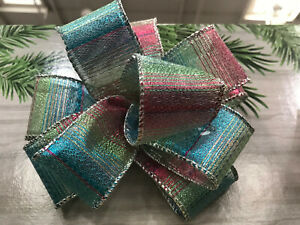 Luxury Sparkly Wired - Edged RIBBON Multicolour / Rainbow Stripes