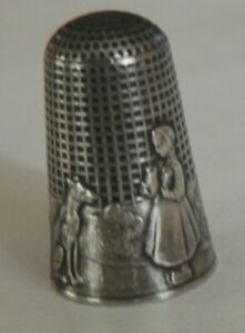Antique French Fable Fairy Tale Sterling Thimble Red Riding Hood & Wolf #280