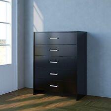 Home Source Chest of Drawers, Bedroom Furniture, 5 Drawer, Metal Handles, Black
