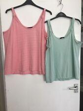 2 X Woman's Sleeveless Green/Pink Tops Size 20 Peacocks