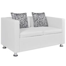 Black/White Leather Sofa Bed 2 Seater Lounge Suite Couch Chaise 2 Pillow Armrest