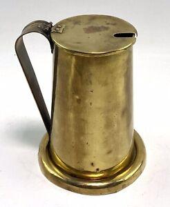 Vintage French ALFEU Brass Lidded Jug & Base Vase Pitcher Rustic
