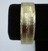 Monet Signed Vintage Bangle Bracelet Gold Tone Textured Metal Thick Shiny CHIC