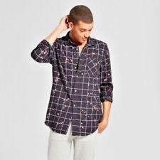Men's Long Sleeve Bleached Button-Down Shirt - Jackson Black/Bleach XL