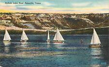 Linen Postcard; Sailboats on Buffalo Lake near Amarillo, Texas TX Unposted