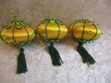 Vintage Lot of 3 Gold Satin Covered Chinese Lantern Shaped Christmas Ornaments
