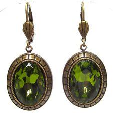 SoHo® Ohrhänger Art déco style bohemia olivine altgold handgemachtes Glas 1960er