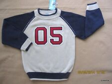 Gymboree The Great Bambini Tan Blue Red 05  Pick Stitch Sweater 4-4T NWT New
