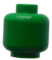 Lego 2x einfarbiger Kopf in grün unbedruckt Neu green head plain