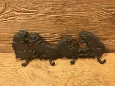 "Cast Iron Wall Hooks Four Pig Tail Hooks 11"" wide Home Decor Supplies 0184S-0455"