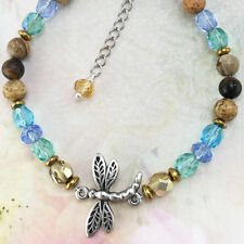 Dragonfly Bracelet with Crystals & Natural Gemstones, Australian Made Pewter