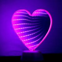 3D LED Night Light Heart cactus Unicorn Flamingo Mirror Lamp Valentine Decor