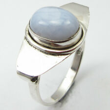 92.5% Sterling Silver Genuine BLUE LACE AGATE RING SIZE 7 ! Handmade Jewelry