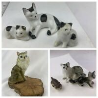 Vintage Lot 7 Cat Kitten Miniature Figurines Japan Germany
