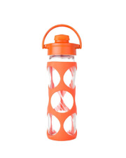 Lifefactory 16oz Glass Bottle with Flip Top Cap, Silicone Sleeve Bright Orange
