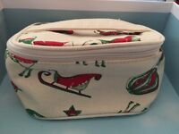 Origins IVORY Red & Green Patterned Toiletries Bag CANVAS train Travel GIft BaG