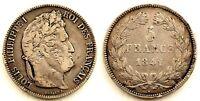 Francia-Luis Felipe I. 5 Francos 1841-B. Rouen. MBC+/VF+. Plata 24,8 g.