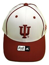 adidas Youth Boys Indiana Hoosiers Embroidered White Stretch Fit Hat Cap New