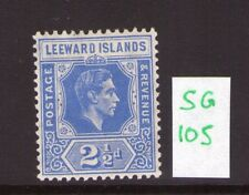 LEEWARD ISLANDS George VI 21/2d ,bright blue, single, multi-colour L/hinged