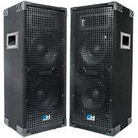 Grindhouse Pair of Dual 8 inch 2 Way Passive PA/DJ Loud Speakers - 1800 Watts