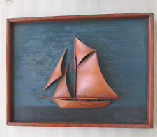 "Vintage SAILBOAT CARVING DIARAMA,Pine Wood,C.1900, Painted Background,  13""x10"""