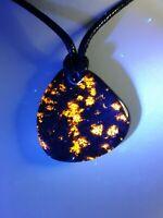 Ancient Michigan Yooper Night Light Pendant Necklace Fluorescent Sodalite