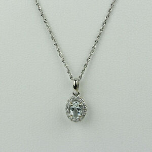 "14k White Gold and Aquamarine with Diamond Halo Pendant Necklace 18"""