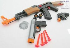 3x Toy Guns Friction AK-47 Toy Rifle Grey 9MM Dart Pistol Revolver Cap Gun Set
