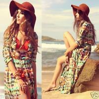 HOT Boho Women Maxi Dress Chiffon Gypsy Hippie Long Sleeve Kimono Cardigan Shirt