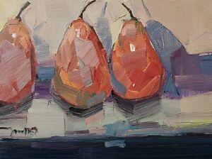 JOSE TRUJILLO Oil Painting IMPRESSIONISM CONTEMPORARY 9X12 Pears Still Life