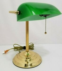 Vintage Bankers Desk Lamp Brass Green Glass Gold Pull Chain Model 9400 14in Tall