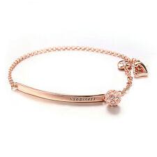 Rose Gold Filled Chain Link Bracelet Bar Cubic Zirconia Pave Charm Adjust Length