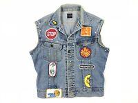 Vintage Kimski Studded Patch John Lennon Back Patch Blue Denim Vest
