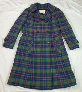 Pendleton Womens Coat Christmas Tartan Plaid USA Vintage Double Breasted Large L