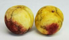 Vintage Italian Alabaster YELLOW PEACH Nectarine Marble Stone Fruit Set of 2