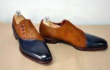 Nuevo hecho a mano pelo en Oxford Cuero Marrón Zapatos de dos tonos para hombre