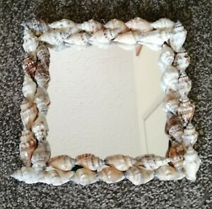 Handcrafted Hanging Sea Shell Framed, Mirror, Lacquer Finish, 20cm x 20cm