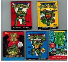 5 PACK LOT TEENAGE MUTANT NINJA TURTLES CARTOON 1989 TOPPS MOVIES STICKERS CARDS