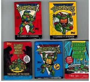 5 PACK LOT TEENAGE MUTANT NINJA TURTLES CARTOON 1989 TOPPS MOVIES STICKERS CARDS