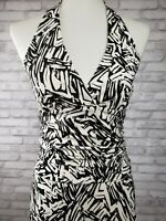 Bcbg Maxazria dress Small halter back ruched waist black white abstract print